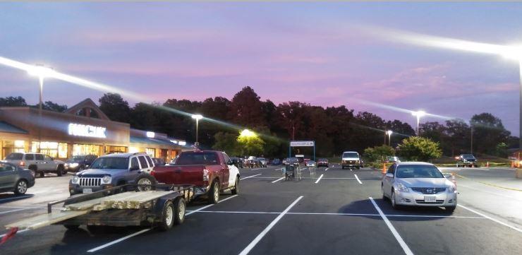 Working at Night in Parking Lot Lexington, NC Asphalt Paving